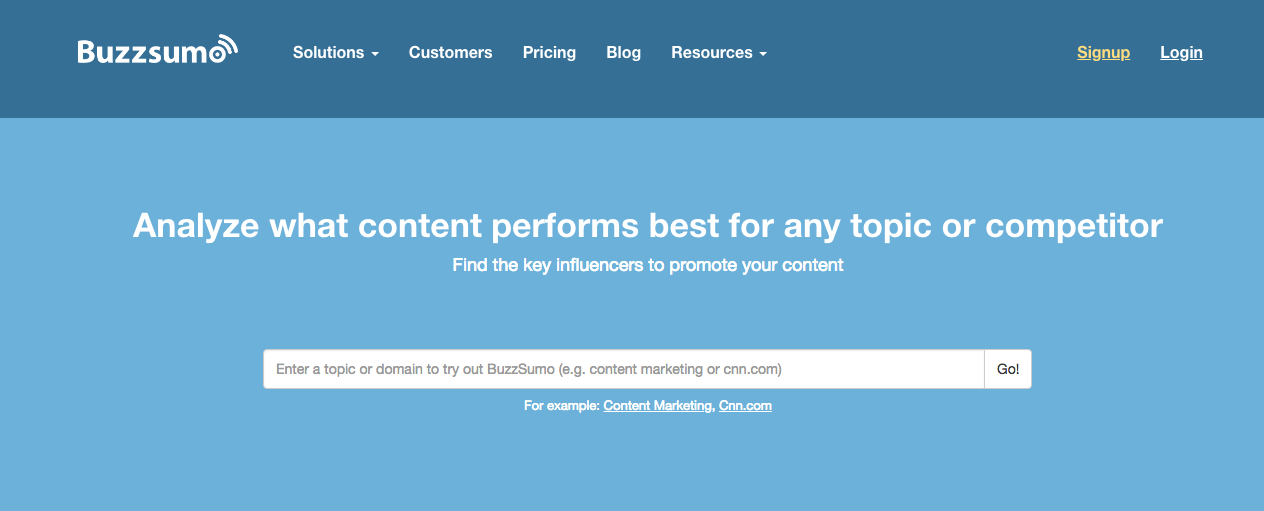 Buzzsumo Homepage