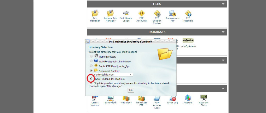 Siteground File Manager (show hidden file)