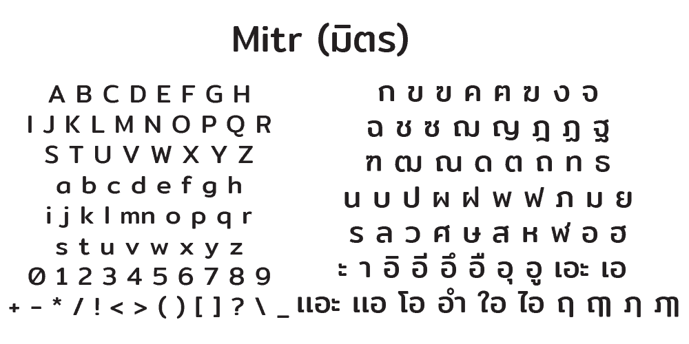 ตัวอย่างฟอนต์ไทย Mitr