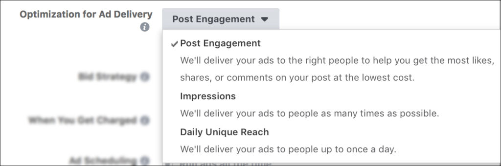 Facebook Ads - Optimization for Ad Delivery - Post Engagement