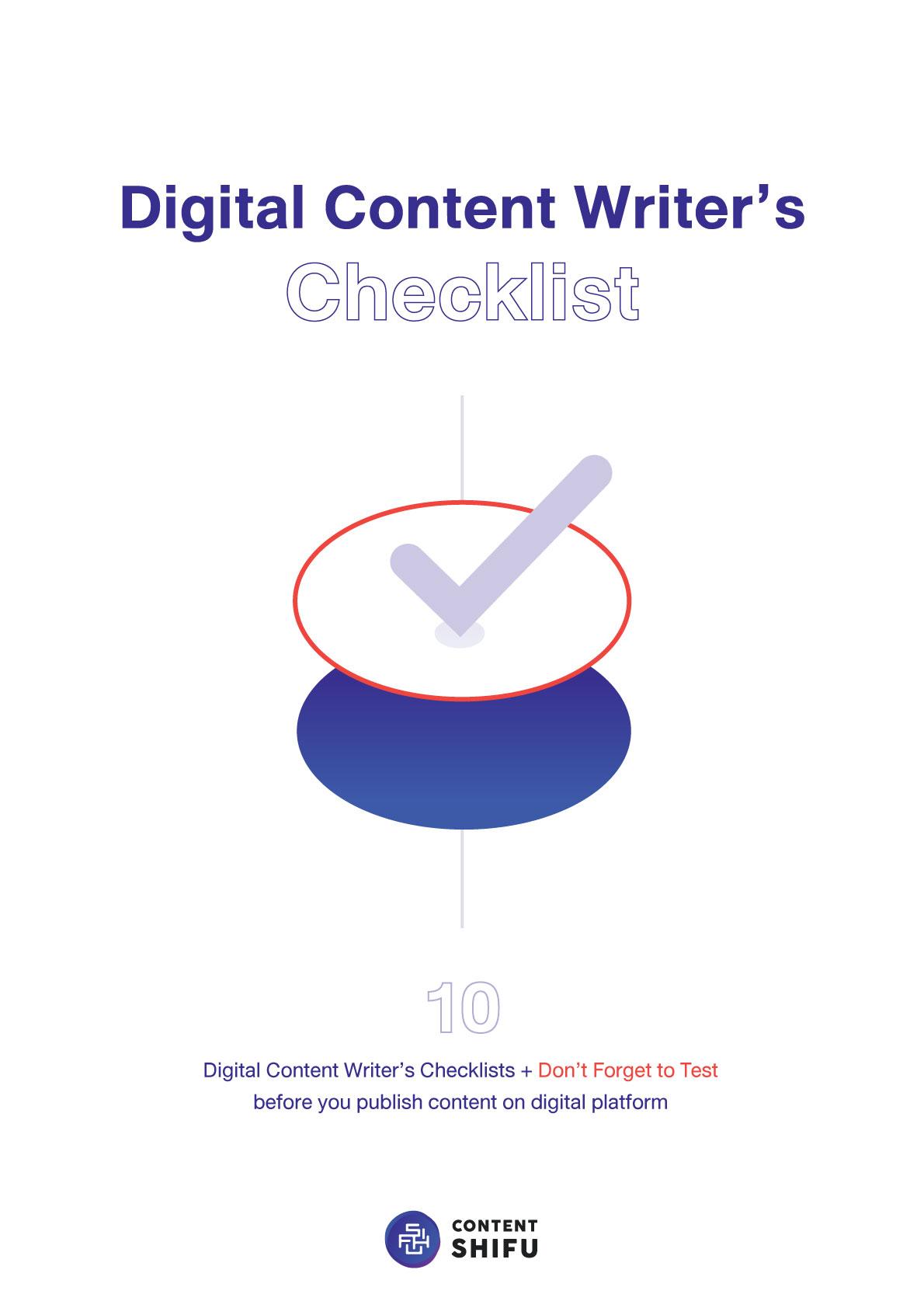 Digital Content Writer Checklist