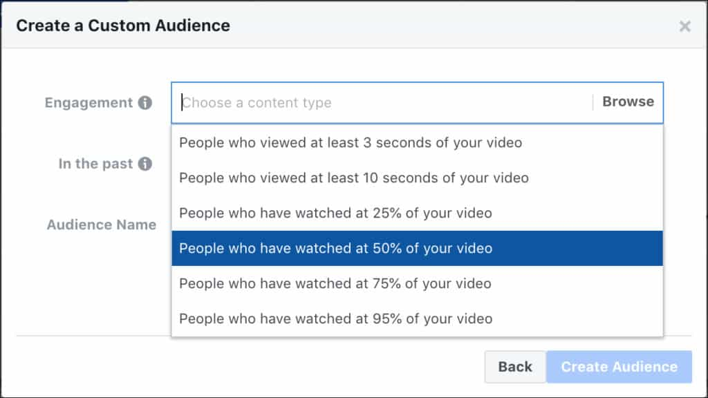 กำหนด Custom Audience จาก Video Engagement