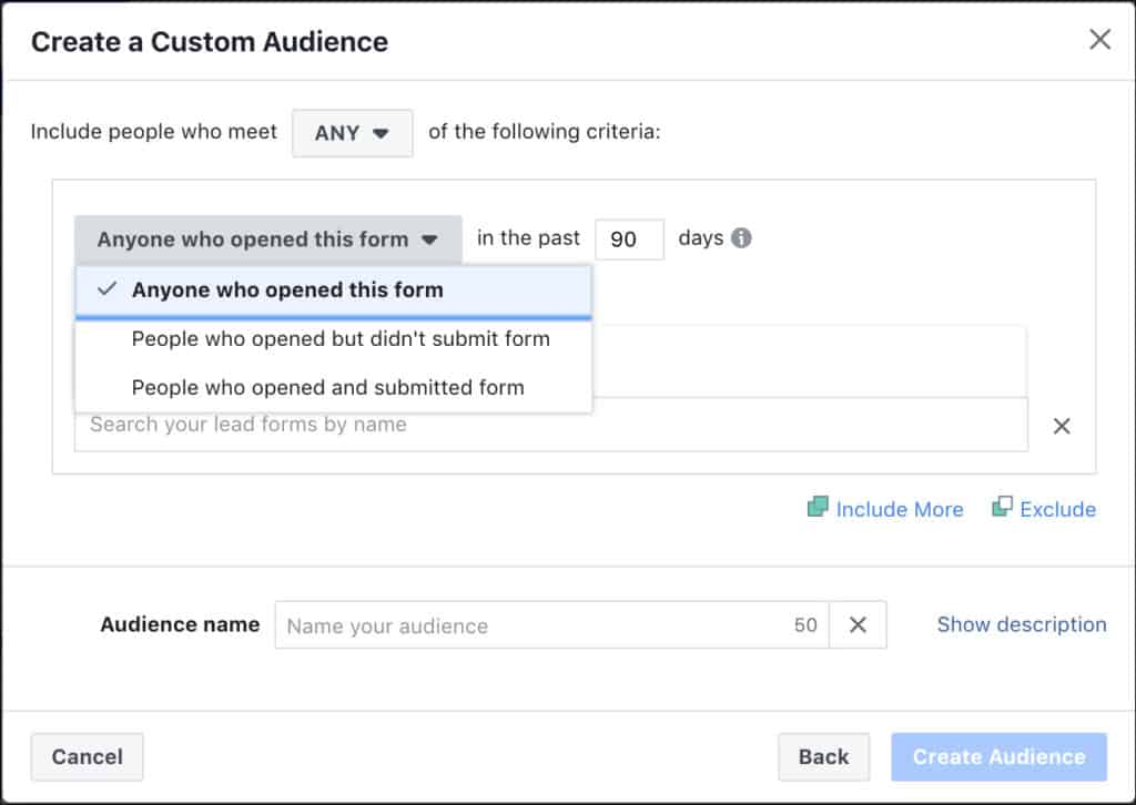 กำหนด Custom Audience จาก Lead Form Engagement