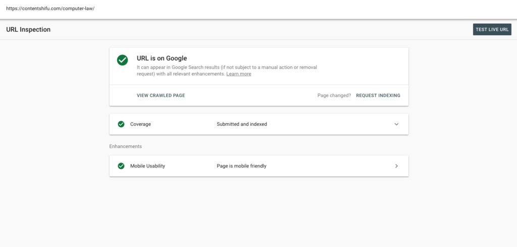 Google Search Console - URL inspection